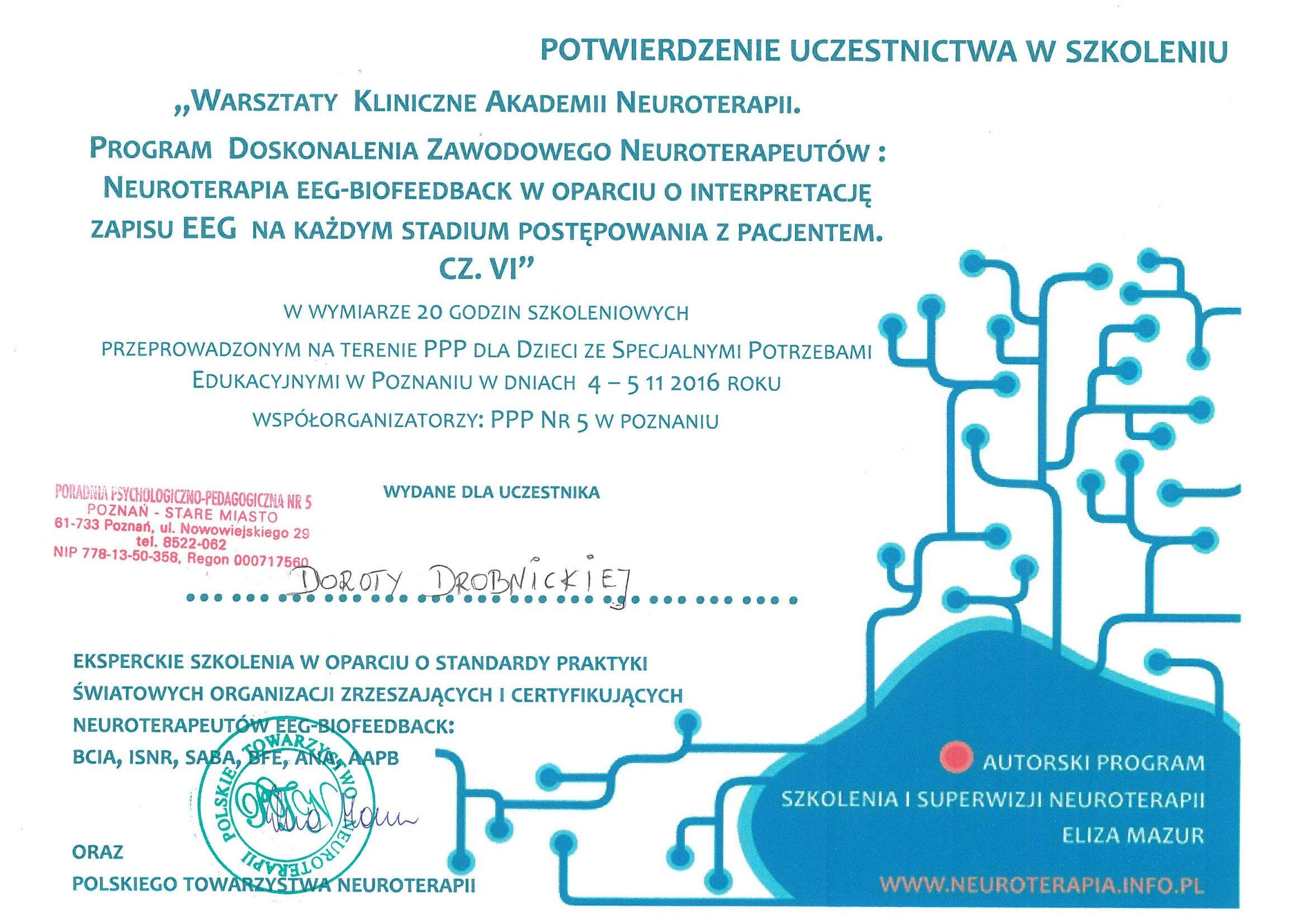 Szkolenie Biofeedback Akademia Neuroterapii VI