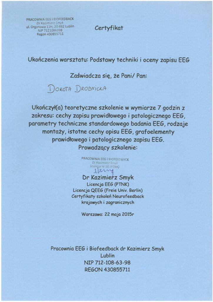 Szkolenie technika i ocena zapisu EEG